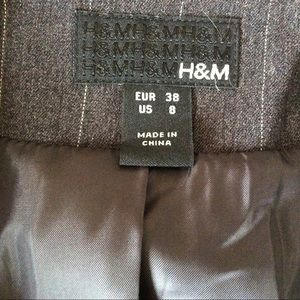 H&M Jackets & Coats - H&M Gray Blazer With White Strips  Size 8